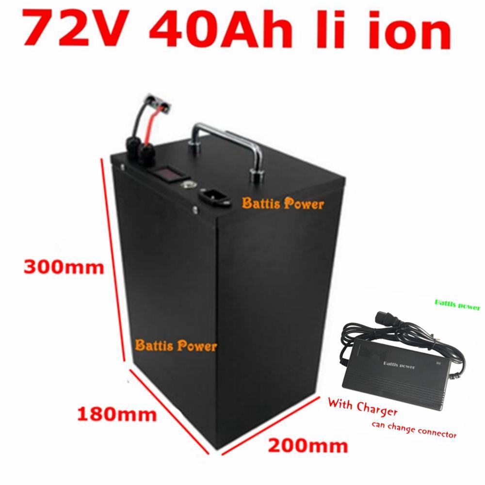 ioni di litio 72V impermeabile BMS batteria 40Ah Li-ione per 4000w 3500w bici triciclo motorino caricatore elevatore + 10A