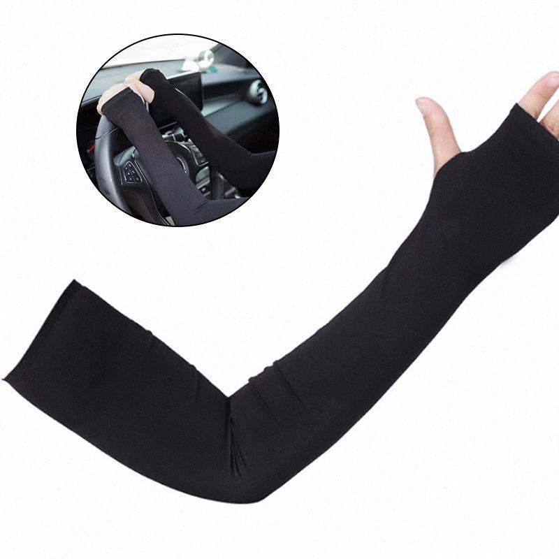 2pcs dei manicotti del braccio del ghiaccio Silk Maniche lunghe protezione solare Guanti Sun UV Outdoor Sport Ciclismo bracciale mezza scaldino Finger traspirante DIL1 #
