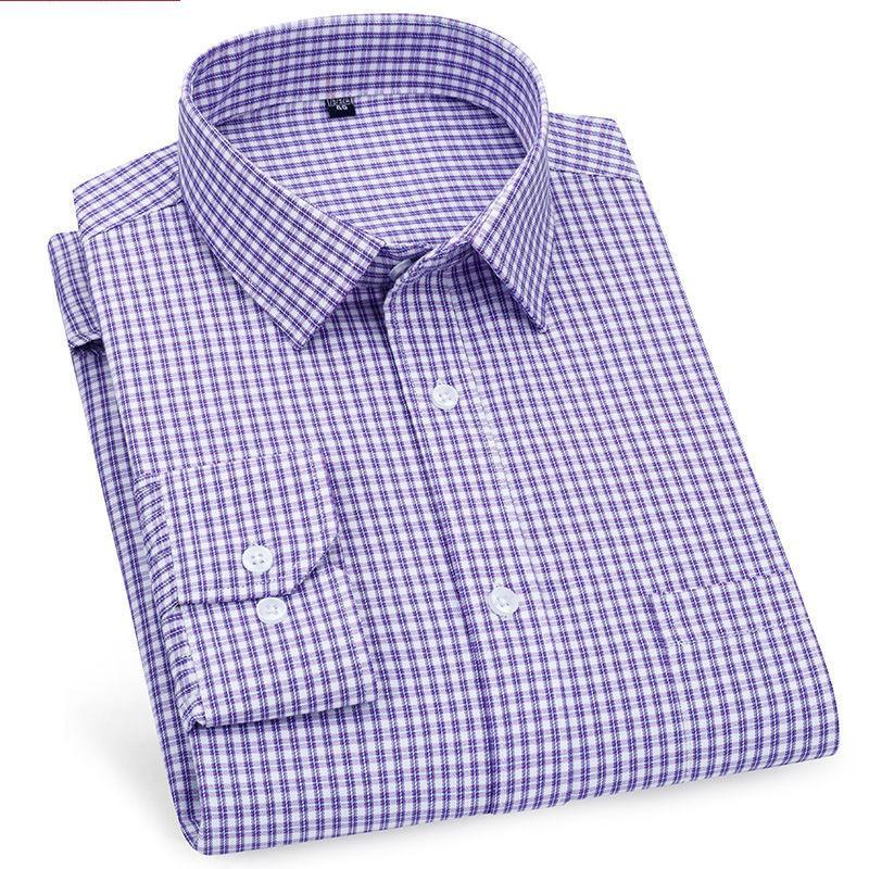 높은 품질 남성 비즈니스 캐주얼 긴 소매 셔츠 클래식 스트라이프 남성 사회 드레스 셔츠 퍼플 블루 저렴한를 검사