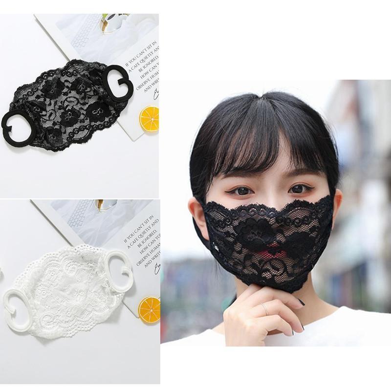 Mode dentelle visage Masque lavable broderie bouche visage couverture confortable fille Femmes Noir Blanc Masque Parti Masques IIA294