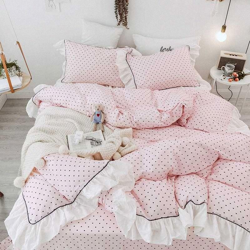 Estilo princesa de lujo 100% algodón del lecho de las colmenas de funda nórdica Negro Dot hoja de cama / ropa de cama Fundas de almohadas para niñas juego de cama edredón Du bDKi #