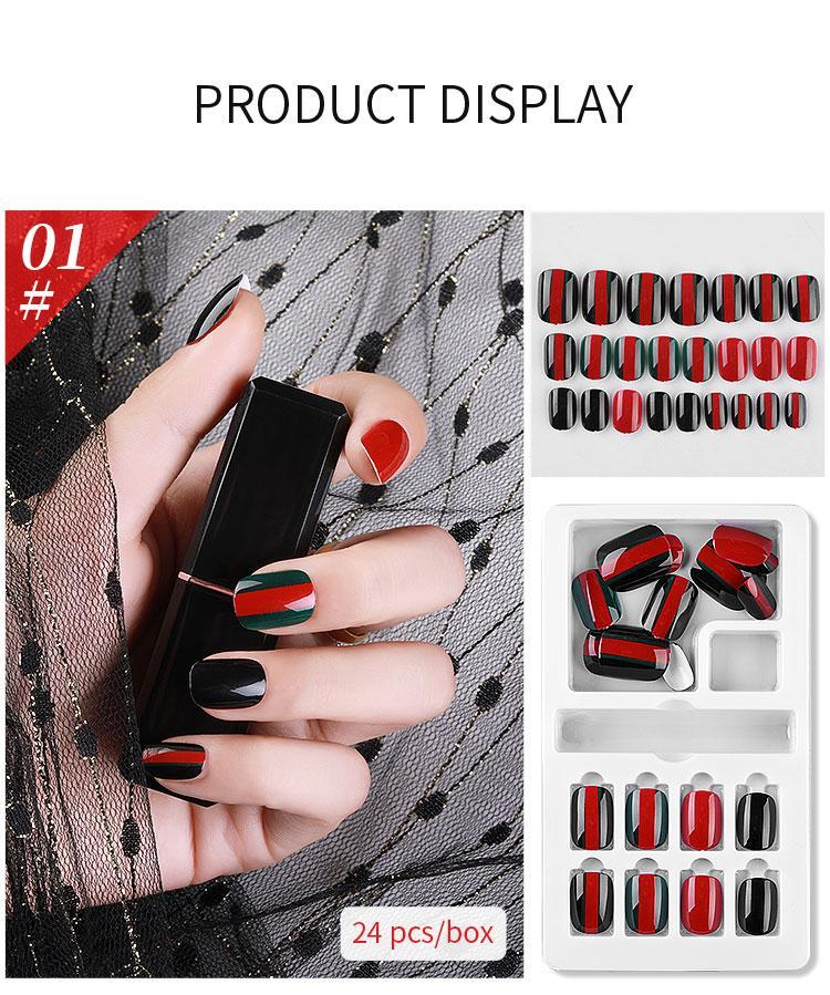 NAF005 24PCS Conseils artificiels détachable faux ongles Set Cover pour Ongles Art Faux Conseils d'extension avec adhésif et boîte de détail