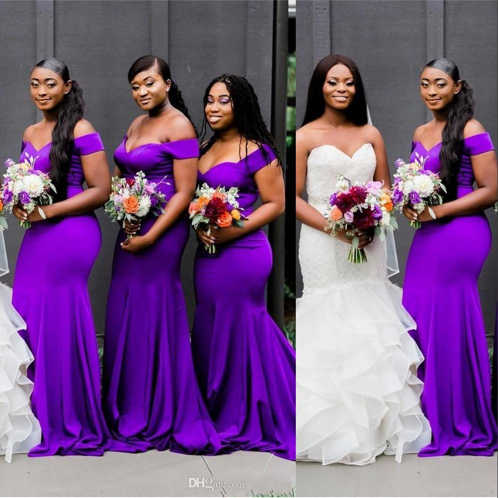 Cheap Sexy Purple Mermaid Bridesmaid Dresses African Off Shoulder Open Back Sweep Train Plus Size Wedding Guest Dress Maid of Honor Gowns