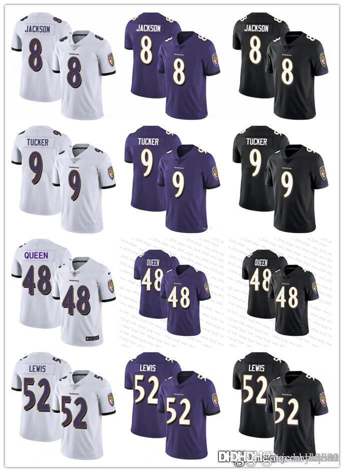 Men Women BaltimoreRavensYouth 8 Lamar Jackson 9 Justin Tucker 48 Patrick Queen III 52 Ray Lewis Football Jerseys Black