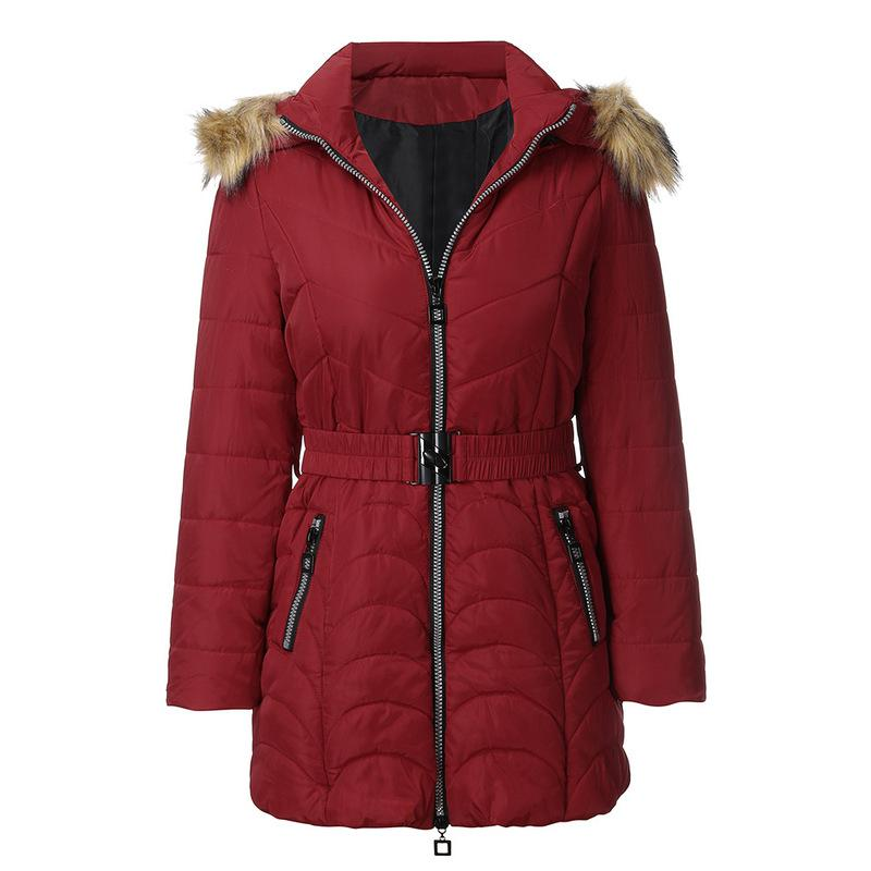 Autumn and Winter New Women Cotton Clothing Detachable Fur Collar Hooded Cotton Women Loose Belt Long Sleeves Coat