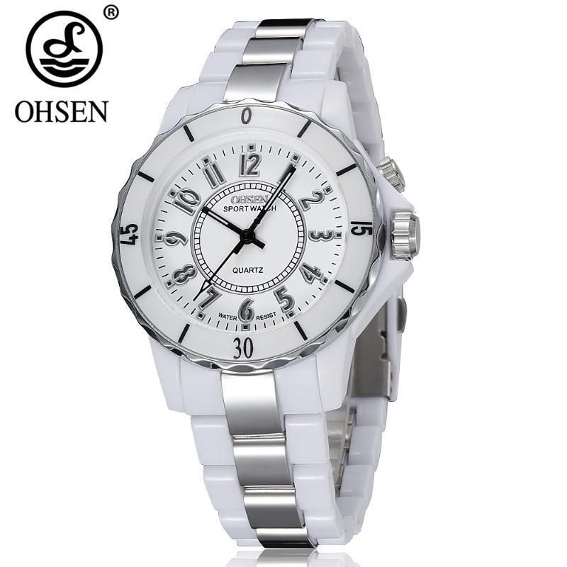 2020 neue ursprüngliche OHSEN weiße LED-Licht-Uhr-Armbanduhr Analog Quarz Damen der Frauen wasserdicht Sport Typ Uhren Geschenk
