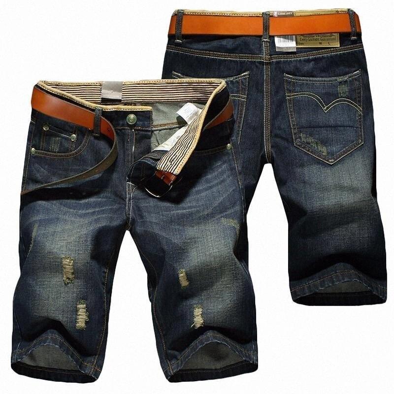 Mens de la manera ocasional del verano pantalones cortos de algodón Jeans Bañadores Vaqueros Pantalones cortos Hombre rasgado los pantalones ocasionales más el tamaño Juby #