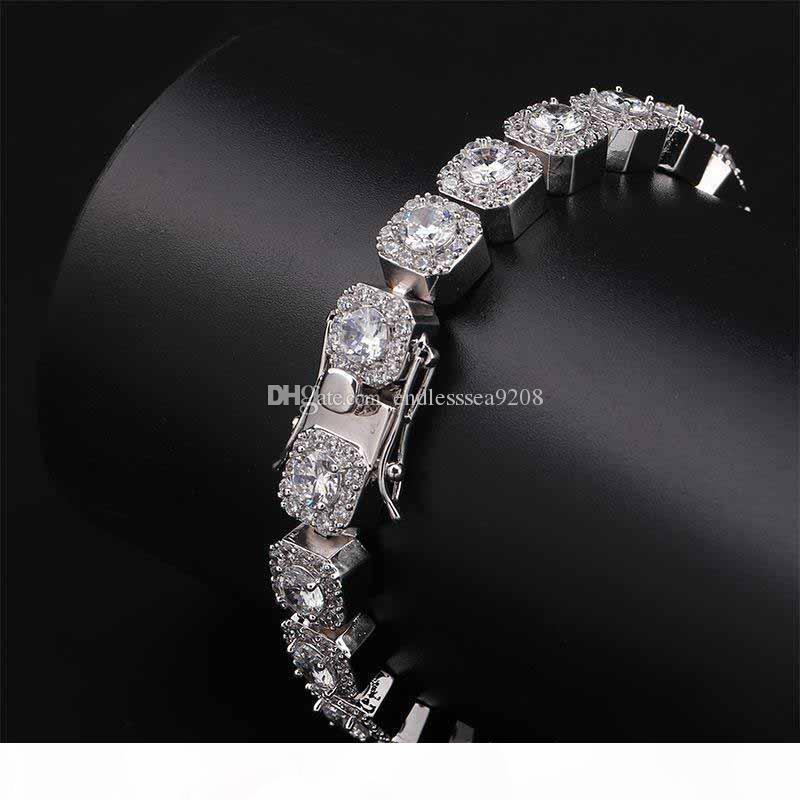 Mens braccialetto di diamanti Bling fuori ghiacciato Hiphop zirconi Tennis catene del progettista di marca dei monili di Hip Hop placcati oro 18K catena