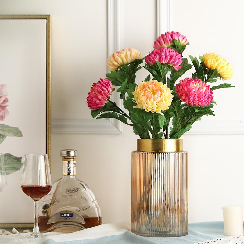 Fleurs décoratives Couronnes Yumai 55 cm Longue Tige longue Chrysanthemum Branche de fleur artificielle Soie Gerbera pour la décoration de table de fête à la maison
