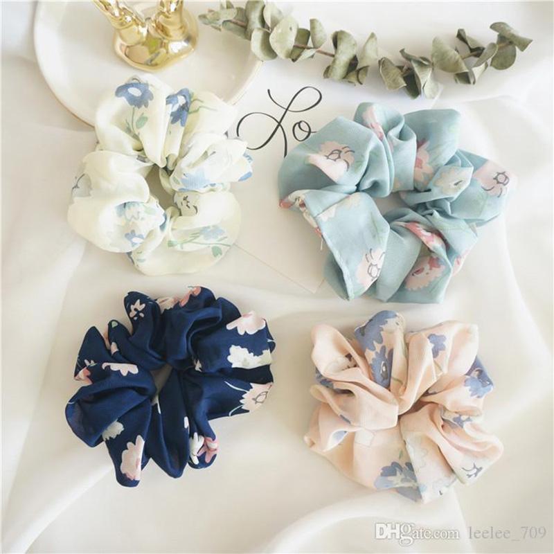 8 couleur femmes filles Rose floral Couleur Tissu élastique Anneau Ties Accessoires cheveux Porte-Bandeaux caoutchouc Ponytail bande Chouchous