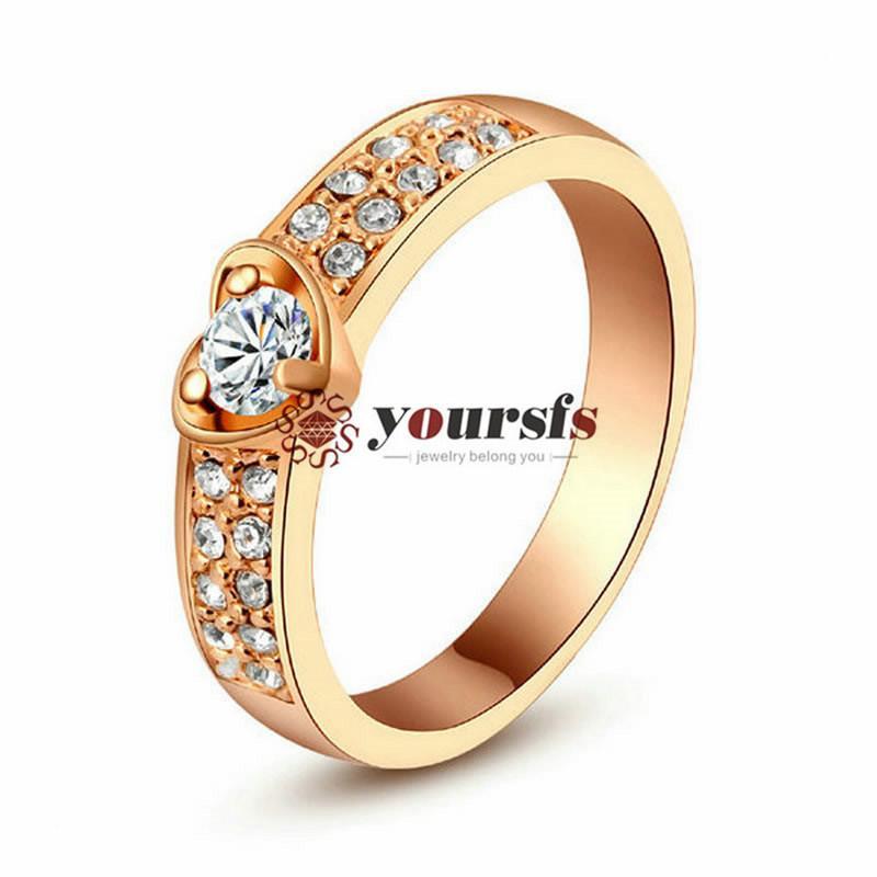 Yoursfs joyería de moda 18k chapado en oro amor circón ring anillo mujer aniversario regalo de cumpleaños