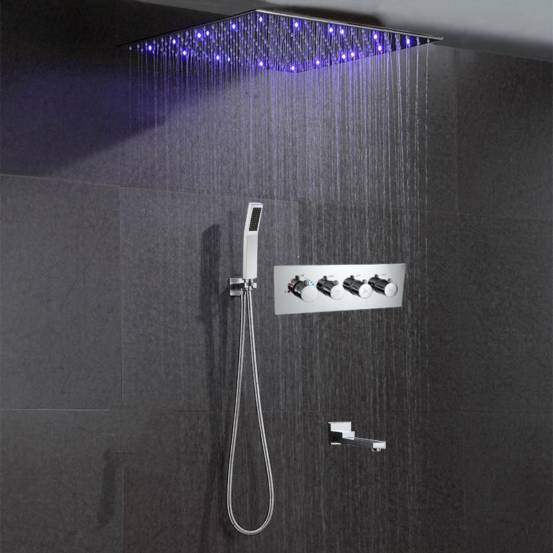 욕실의 레인 샤워 시스템은 16/20/24 인치 천장 LED 샤워 헤드 패널 벽 온도 조절 숨어서 믹서 수도꼭지 크롬을 탑재