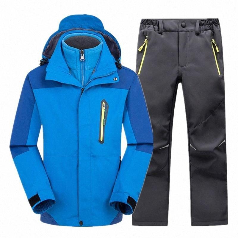 Çocuklar Kayak Suit Su geçirmez Windproof Çocuk Kalın Snowboard Seti İçin Erkek Kız S-XXXL Kar Aşınma zq2d # Skking ceket ve pantolon Isınma