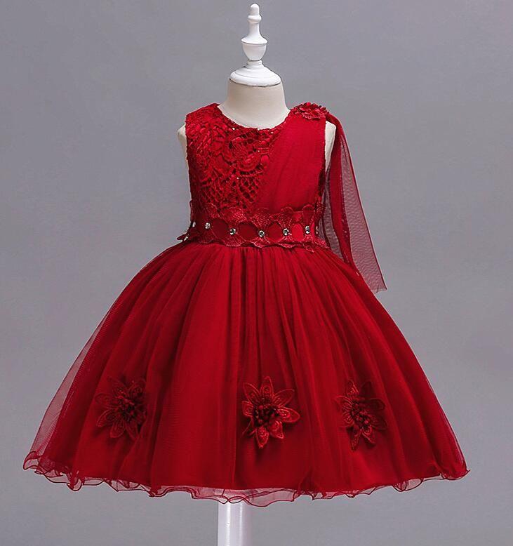 Дети эксклюзивное красное платье детских свадебных платьев больших дети поклонятся Сетчатой девушкой платья