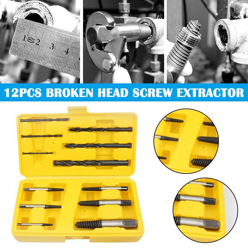 Acero de alto carbono 12pcs extractor de tornillos Conjunto Métricas / SAE 3/32 8-11 6-8 3-6 1/8 3/16 1/4 5/16 3/8 MF999