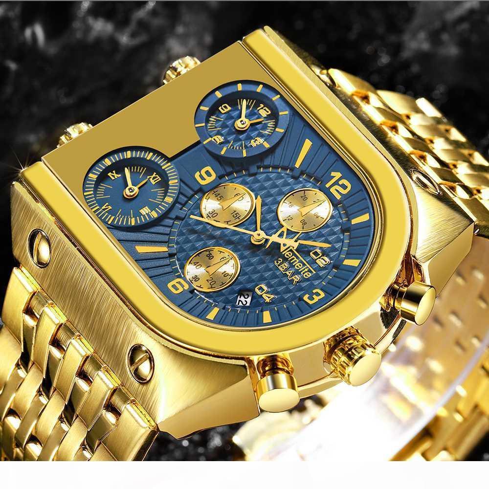 Quadrante di lusso Big uomo superiore di marca degli orologi del quarzo oro Creative Business acciaio inossidabile guarda gli uomini Relogio Masculino 2018