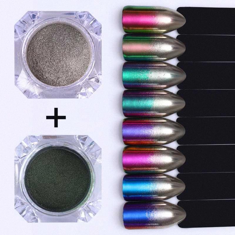 2adet Bukalemun Ayna Tırnak Glitter Toz Gradyan Metalik Efekt Pigment Nail Art Dekorasyon UV Jel Cilalama Krom 1pc wMwz #
