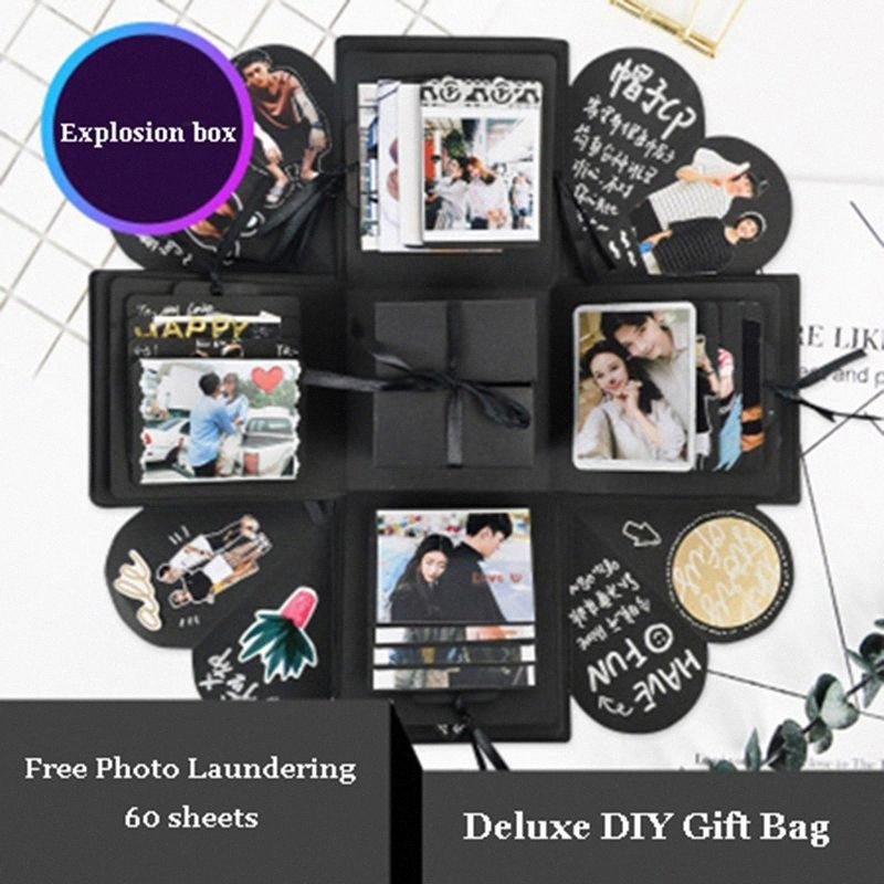 New Explosion Surprise Box Scrapbook DIY Photo Kit Birthday Anniversary Valentine Wedding Gift Party Favor i8x4#