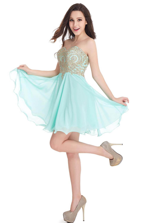 Babyonblinedress Sexy Открыть Назад Mint Green Gold Lace Homecoming платья Милая шеи шифон Короткие вечерние платья выпускного вечера CPS406