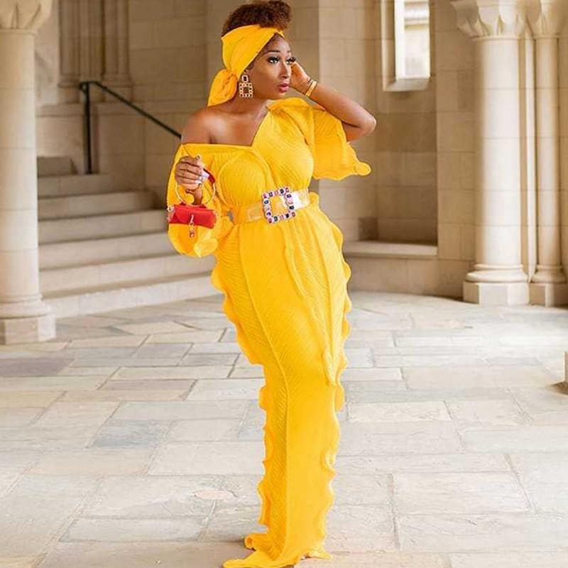 Afrikanische Kleider für Frauen 2020 neuen Herbst-Sommer-Elegent Art afrikanischen Kleid mit V-Ausschnitt in Übergrößen lange Maxi-Kleid und Kopftuch