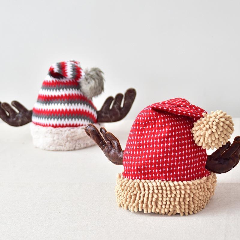 Cornamentas del sombrero de la Navidad para adultos niños regalos de Año Nuevo Decoración de Navidad linda de la manera gris rayado rojo sombreros de Navidad