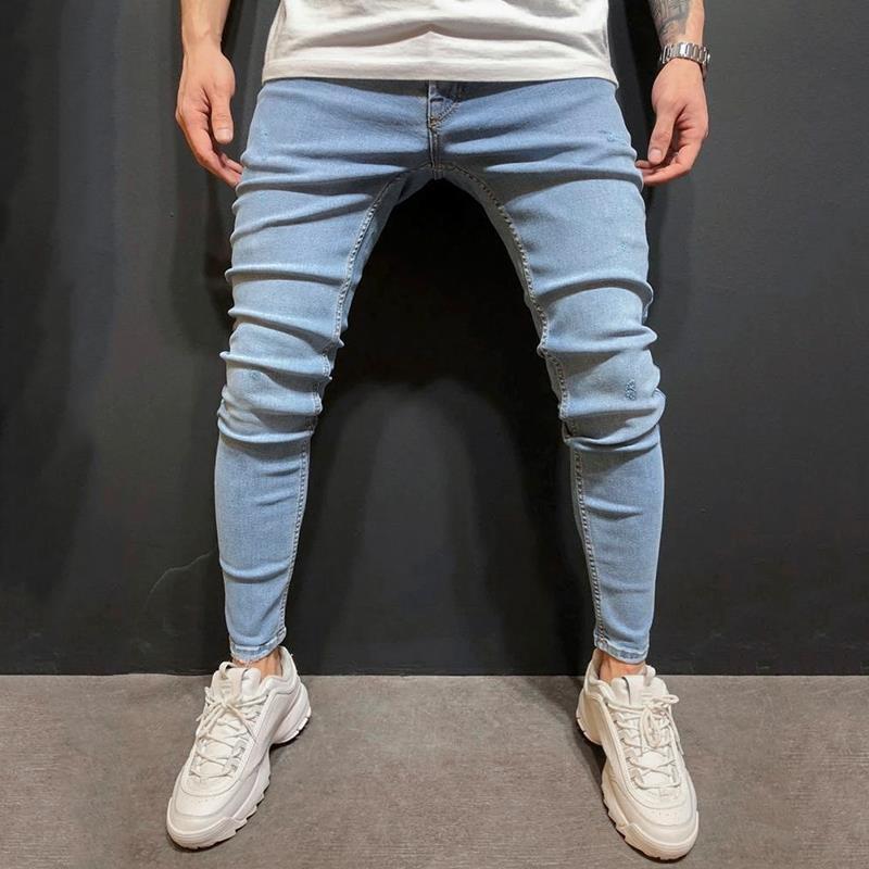 2020 do outono New Style Men coreano Jeans Algodão Calças Juventude Popular apertado Mid-cintura Casual Calças