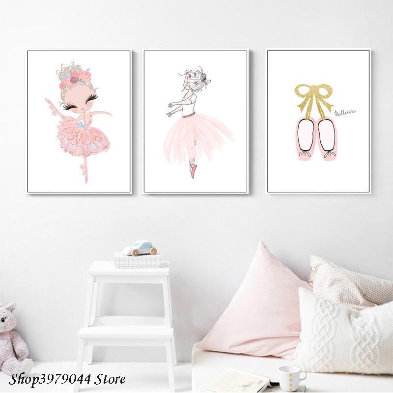 Ballerina Dancing Girl Rosa Wall Art Shoes berçário Imprimir Ballet Poster Saia Dança Pintura em Aquarela decorativa Home Baby quarto