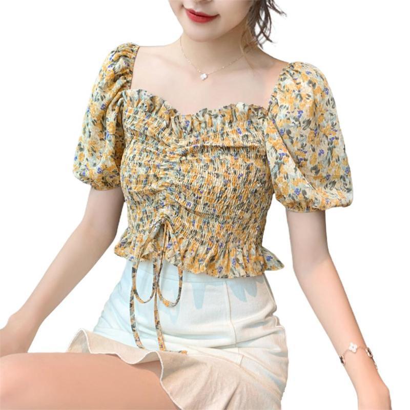 Women Sexy Crop Tops Chiffon Blouse Summer Sexy Off Shoulder Floral Waist Tight Short Sleeve Blouses girl women female