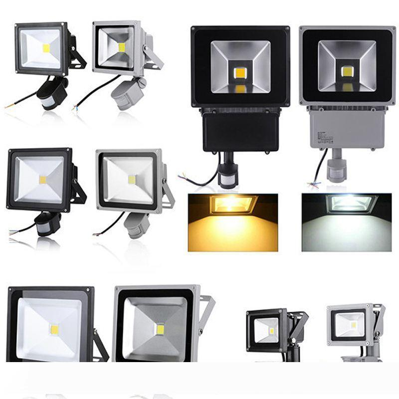 PIR Infrarot-Bewegungs-Sensor-LED-Scheinwerfer 110-265V 10W 20W 30W 50W COB IP65 LED-Flutlicht für Garten Scheinwerfer Outdoor-LED