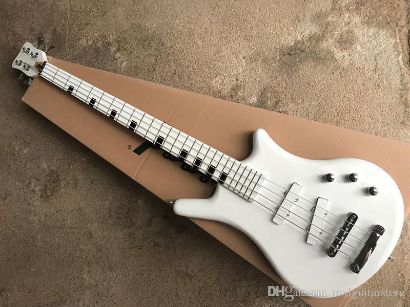 4 Strings Beyaz Elektrikli Sınıf Mozaik Bas Gitar, Beyaz kamyonet, arz özelleştirilmiş