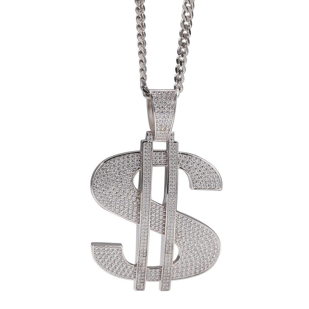 Nuevo Hip Hop collar de la joyería del tamaño grande hacia fuera helado Cadenas circonio cúbico de cobre engastado con diamantes de 18 quilates chapado en oro de $ collar de la letra