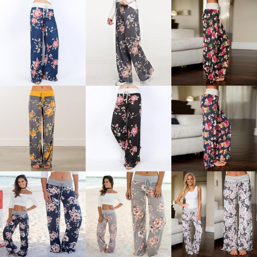 Women Vintage Totem Floral Print Wide Leg Pants Retro Cic Elastic Waist La Up Trousers Patcwork Pantalones Mujer Pants Y19070301#813