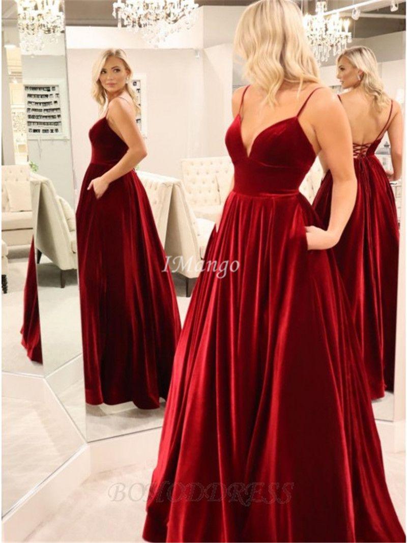 Vermelho escuro de veludo Vestidos 2020 Spaghetti Corset Voltar Árabe celebridade Runway Prom vestidos com bolsos Robe De Soriee