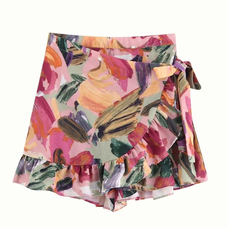 2019 Women sweet tropical flower leaves print pleated ruffles mini skirt faldas mujer ladies elastic waist lace up skirts QUN403 T200804