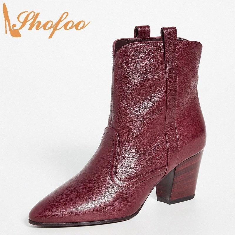 Burgundy Sapatinho alta Chunky Heels Pointed Toe deslizamento Mulher em grandes Tamanho 11 15 For Ladies Moda Mature Shoes Botas Shofoo 5L04 #