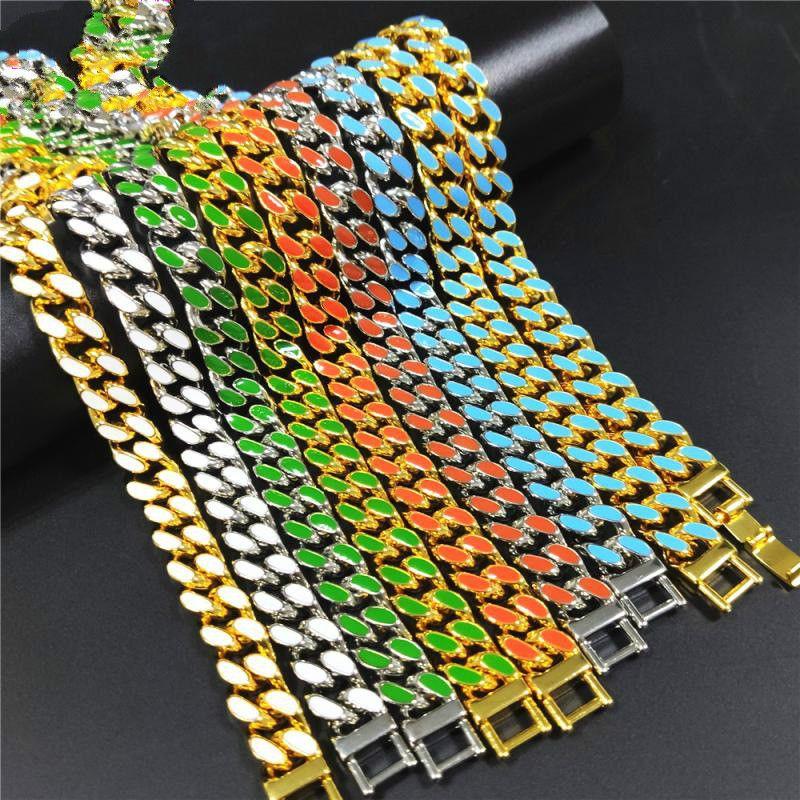 12.5mm 8 цветов персонализированного Золота Серебро Hip Hop Bling Алмазного кубинский Link цепь ожерелье для мужчин Майами Рэпер Bijoux Мужских Цепей ювелирных изделий