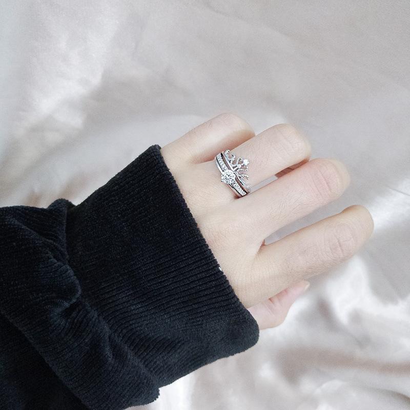 Crown anillo 925 Sterling Maiden micro-set de doble capa dos-en-uno desmontable de dos piezas combinación conjunto estalló.