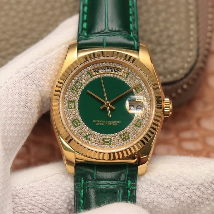 2020 серия 36мм 118138 ремень зеленый Эмаль Mantian звезда автоматические движения кожаный ремешок близко дно для мужчин часы