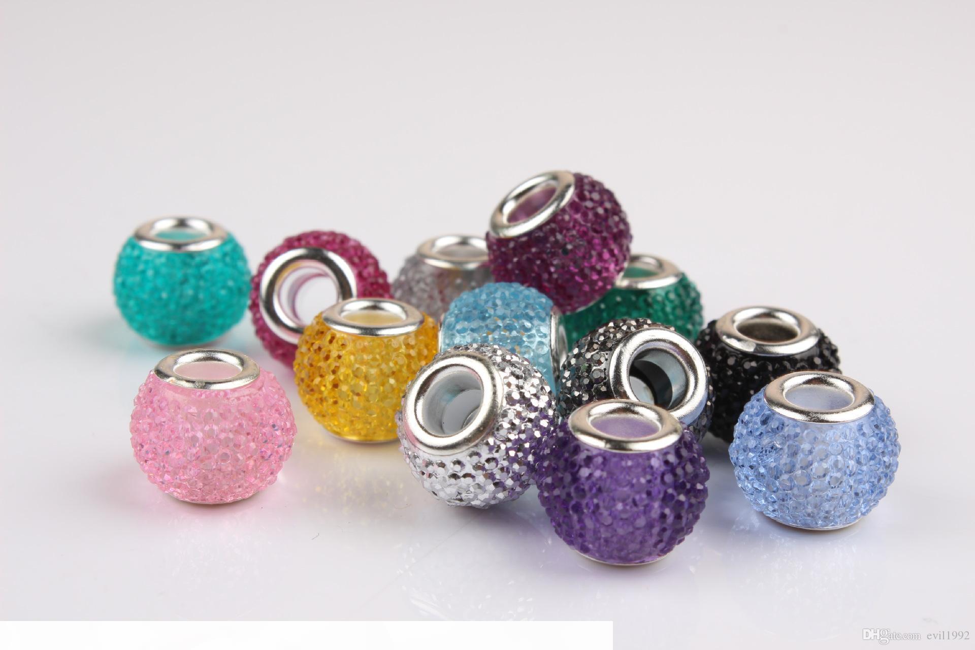 Pandora Stil Bilezikler Diy Takı Avrupa Kadınlar Kızlar Hediyeler için E 10pcs Reçine Sevimli Alaşım Boncuk Charms B0011