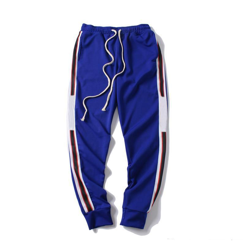 스웨트 팬츠 망 조거 바지 새로운 브랜드 Drawstring 스포츠 바지 높은 패션 3 색 측면 스트라이프 디자이너 조깅