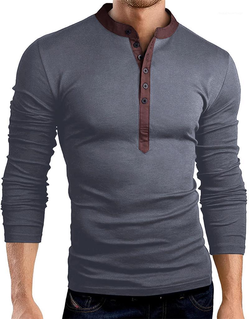 Мода Длинные рукава Мужчины тройники Мульти Кнопка Tops Мужской одежды Mens 2020 Роскошная Tshirts Casual