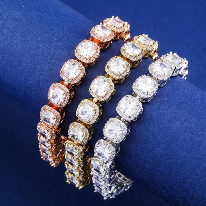 Gold Bling Square Diamond Mens Womens Tennis Chain Bijoux Bracelet Iced Out Cubic Zirconia Rock Sugar Wristband Chains Jewelry For Lovers