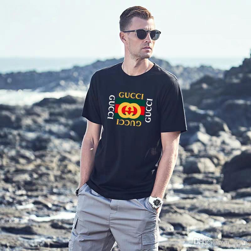 Erkekler lüks tasarımcı işlemeli pamuklu guCCI Tees, Yaz moda kısa kollu marka Tops, Sokak hip hop