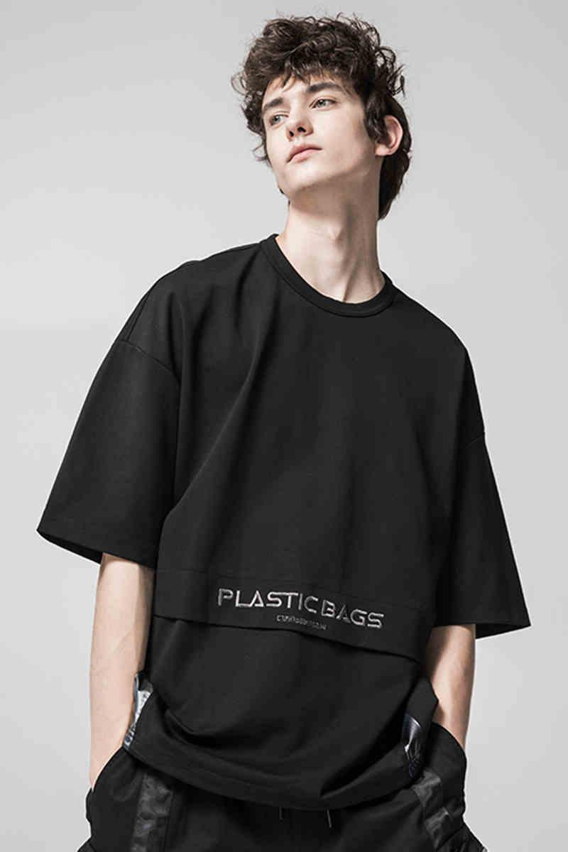 Yaz 2020 erkek kısa kollu yeni yüksek sokak stili Koreli popüler logosu eğilim giyim renk kontrastı eğilim tişört erkek moda tüm matc