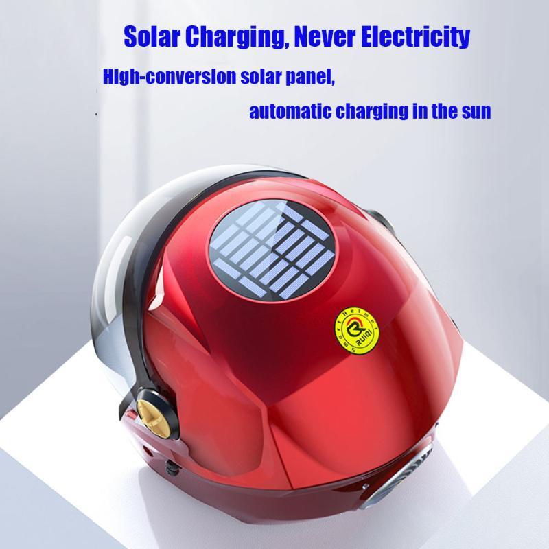 Casques de moto rouge et solaire intelligent de charge Fan Bluetooth Noir Casque Musique Téléphone mobile Sécurité Équitation Casque cool Hommes Wome