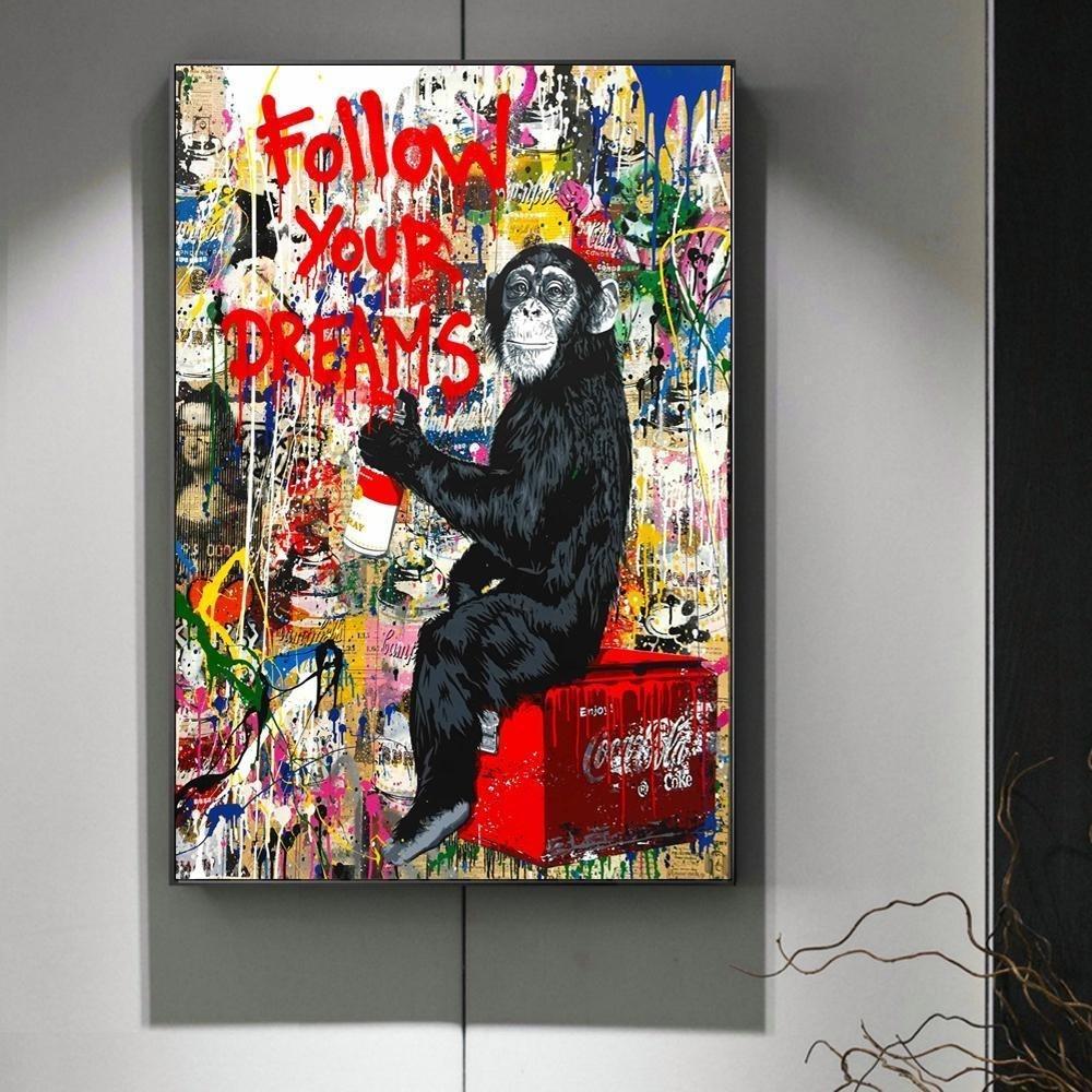 Hayallerin Sokak Duvar Graffiti Art Canvas Paintings Özet Einstein izleyin Pop Art Duvar Resimleri Baskılar Çocuk Odası Salon Dekorasyonu için