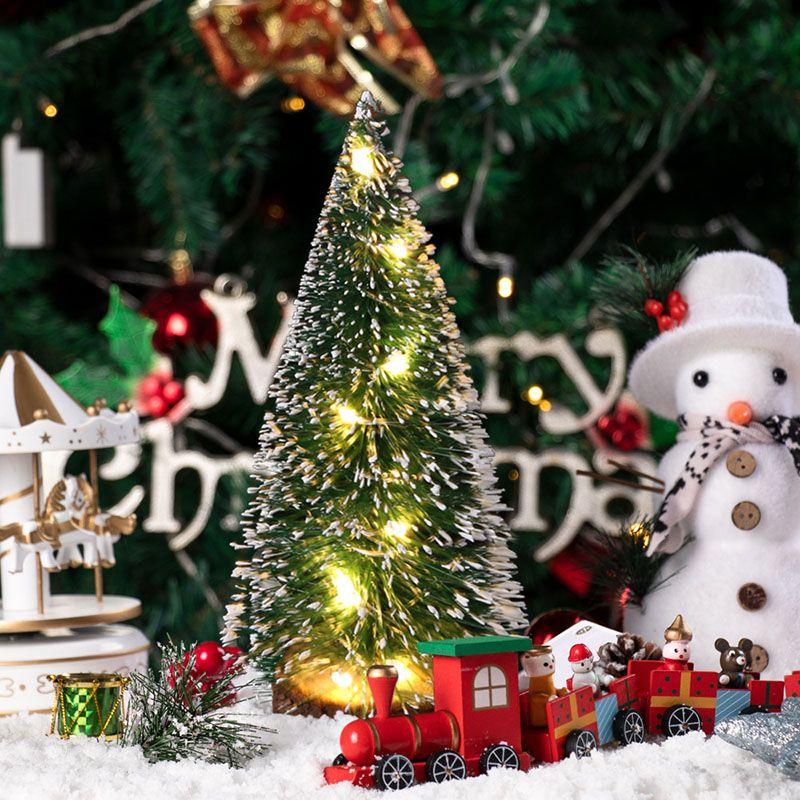 DIY Мини рождественской елки Столешница украшения Войлок рождественской елки Зеленый Иней SideBand светодиодная украшения