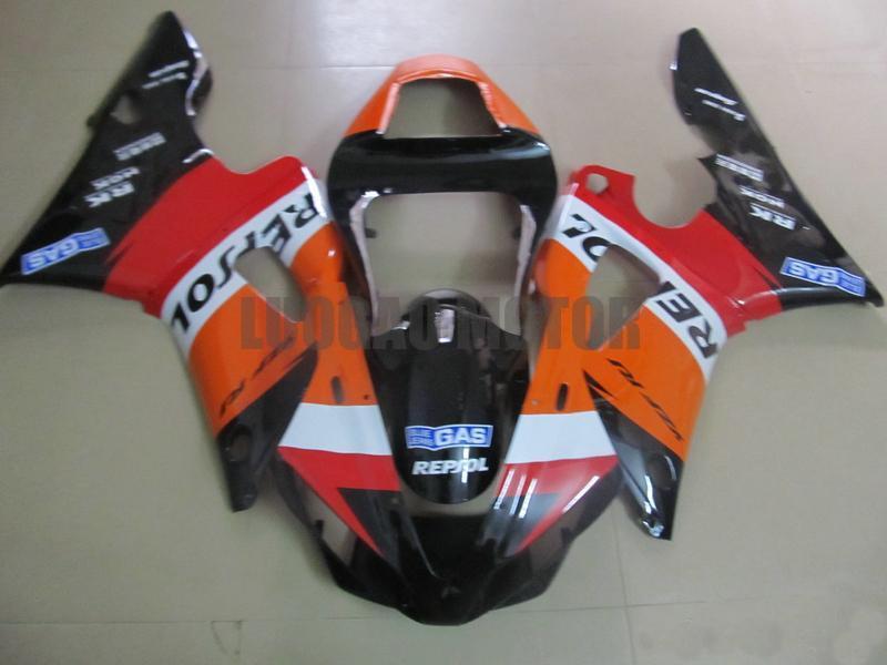 Carenagens injeção completas para Yamaha R1 YZF1000 00 01 2000 2001 Laranja preta ABS carenagens YZF1000 01 02 Motorcycle Carroçaria Cowling