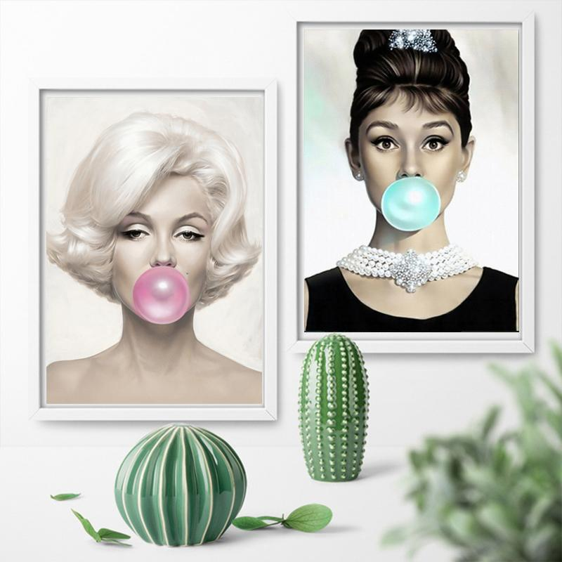 Audrey Hepburn  Bubble Gum Photo Picture Print On Framed Canvas Wall Art Decor