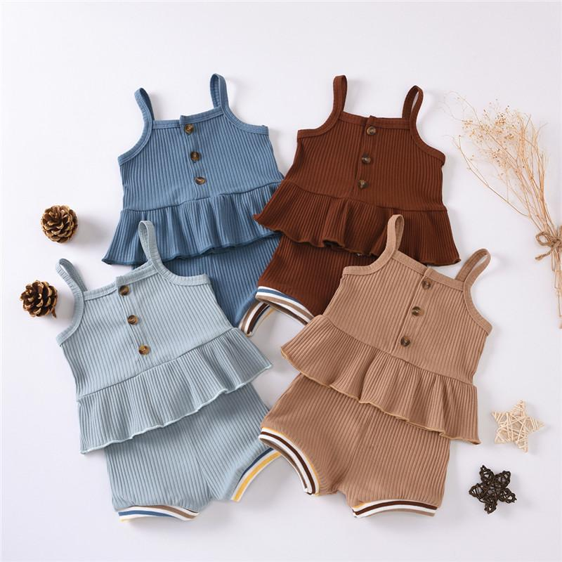 Bebê com nervuras roupa feita malha 2pcs Outfit Set Bebés Meninos Meninas cor sólida Sling Ruffle Sling Botões Pants Top elástico Shorts